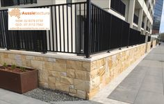 Australian sandstone walling - Colonial banded cladding stone. Canberra project. Natural Stone Wall, Natural Stones, Sandstone Wall, Stone Supplier, Wall Cladding, Stone Tiles, Colonial, Flooring, Outdoor Decor