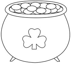 this pot of gold with shamrock coloring page features a picture of a pot of gold with a shamrock on the front to color for st patricks day