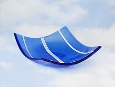 Blue FUSED GLASS Square Bowl Sculptural Art by DawnofCreationArt, $24.00