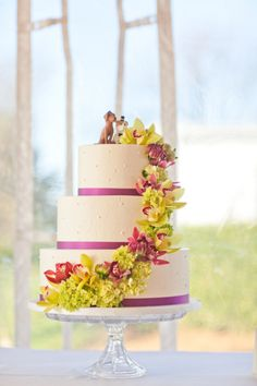 flower cascade with ribbons
