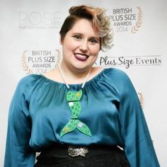 Toodaloo Katie at Plus size awards in our  acrylic perspex laser cut mermaid necklace