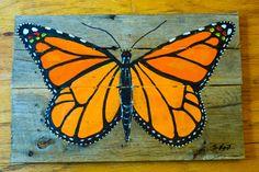 Butterfly on reclaimed wood by PalletArtbySteve on Etsy