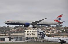 British Airways 777-300ER, G-STBF, arriving at SAN on June 29, 2014 as a substitute for the usual -200ER.
