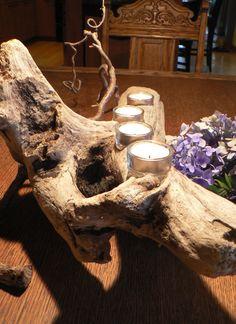 Driftwood, driftwood candle, wedding gift, gift idea, driftwood center piece, cabin decor, Beach decor, Gift for him,