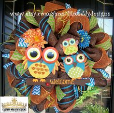 Brown Welcome Owl Wreath by lilmaddydesigns on Etsy, $115.00