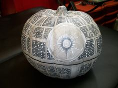 Painted Death Star faux pumpkin (with UV reactive & glow in the dark paint)