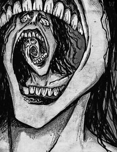Freaky Face Spiral by Slaughterose on DeviantArt Creepy Drawings, Dark Art Drawings, Creepy Art, Weird Art, Arte Horror, Horror Art, Arte Obscura, Arte Pop, Psychedelic Art