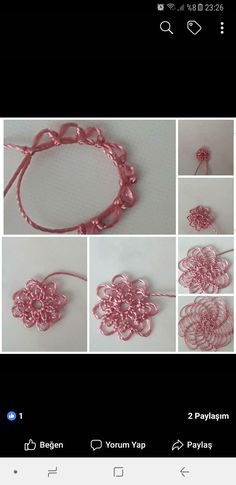 This Pin was discovered by Fat Crochet Flower Tutorial, Crochet Flowers, Crochet Unique, Hairpin Lace, Point Lace, Tatting Patterns, Needle Lace, Button Art, Lace Making