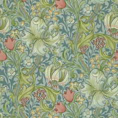 Golden Lily by William Morris. The Original Morris & Co - Arts and crafts, fabrics and wallpaper designs by William Morris & Company Lily Wallpaper, Rabbit Wallpaper, Wallpaper Online, Pattern Wallpaper, Wallpaper Backgrounds, Paisley Wallpaper, William Morris Wallpaper, William Morris Art, Morris Wallpapers