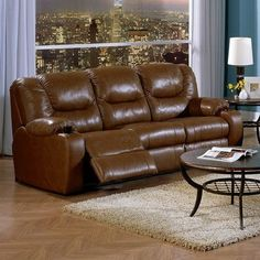 Palliser Furniture Dugan Reclining Sofa Upholstery: All Leather Protected - Tulsa II Dark Brown, Leather Type: Leather PVC/Match, Type: Power