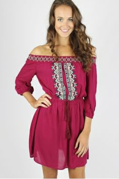 Embroidered Off The Shoulder Dress $34.99 #embroidered #offtheshoulder #dress #sophieandtrey