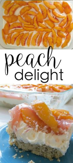 This Peach Delight recipe is a crowd-pleasing favorite! peach desserts cream cheese desserts This peach delight recipe is a crowd pleasing favorite. Made in a 9 x 13 baking dish, it's layered with fresh peaches, whipped topping, and cream cheese. Brownie Desserts, Oreo Dessert, Mini Desserts, Coconut Dessert, Easy Desserts, Unique Desserts, Avocado Dessert, Desserts With Peaches, Easy Cream Cheese Desserts
