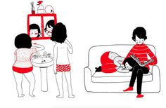 Cute Illustrations of a Couple Daily Life  Philippa Rice is a young illustrator from England. In a book entitled Soppy she draws as comic plates of one or four pictures the life of a young couple. Her little black and red cute illustrations bring a tender look of little attentions and worries that give a rhythm to the couple life.                 #xemtvhay