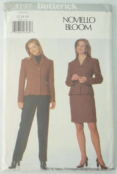 Butterick 5197 Noviello Bloom Pattern Misses' Petite Jacket, Skirt and Pants, Sewing Pattern, Size 12 - 14 - 16, UNCUT by… #etsy