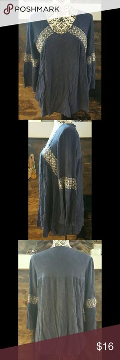 Crotchet Boho Tunic Top  Navy M-L NWOT  Crotchet Lace Boho Tunic Top Navy   Size =M-L  Nice lightweight crinkle fabric and bell sleeves   Bundle for extra savings!   Free shipping over $35 Tops Tunics