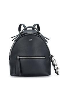 Fendi Mini Crystal Croc-Tail Backpack, Black