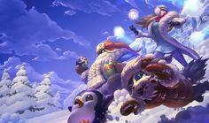 Jeux Vidéo League Of Legends  Bard (League of Legends) Penguin Gnar (League Of Legends) Snow Syndra (League Of Legends) Fond d'écran