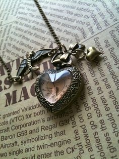 Victorian heart Pocket Watch Necklace Locket by Victorianstudio, $18.96