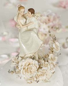 Vintage Groom Holding Bride Wedding Cake Topper - SALE!! Zoom - hair colour and style doesn't work well.