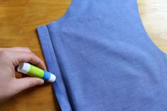four square walls: my 4 favorite shirtmaking tools. gluestick to keep  fabric from shifting