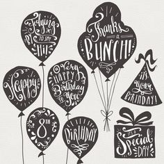Birthday & Greeting Overlays // Hand Lettering // Photoshop PSD Vector EPS // Happy Birthday Balloon Party Hat // Brush Digi Stamp