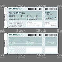 Blank Airport Boarding Pass Template royalty-free stock vector art