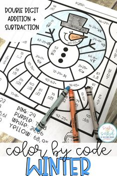 These Winter color by number sheets are a fun, no prep way to practice 2 digit addition and subtraction (with and without regrouping). These are perfect for early and fast finishers in December, January and February. You can also use them during math cent Teaching Addition, Math Addition, Addition And Subtraction, Fun Math Activities, Winter Activities, Second Grade Math, Grade 2, Third Grade, Math Classroom