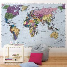 World Map Wall Mural Maps make timeless and sophisticated decor accents. This giant World map is colorful, educational, and stylish. This wall mural is by and comes in 4 easy to install panels. Giant World Map, World Map Mural, World Map Wallpaper, World Map Poster, Of Wallpaper, Reproductions Murales, Playroom Mural, Wall Maps, Burke Decor