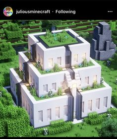 Minecraft Building Designs, Modern Minecraft Houses, Minecraft Mansion, Minecraft Structures, Minecraft Plans, Minecraft City, Amazing Minecraft, Minecraft Construction, Minecraft Survival
