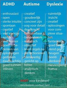 The positive 'symptoms' of ADHD, Autism and Dyslexia in Dutch Baby Massage, Coaching, Social Work, Social Skills, Art Therapy, Speech Therapy, Special Educational Needs, School Info, School Ideas