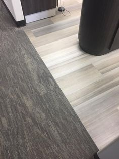 Abstract LVT (color: Latte') by EF Contract Flooring. No transition trim needed with our carpet tile (Veil) Vct Tile, Vinyl Sheet Flooring, Peel And Stick Vinyl, Hallway Carpet Runners, Stair Rods, Trim Work, Grey Tiles, Healthcare Design