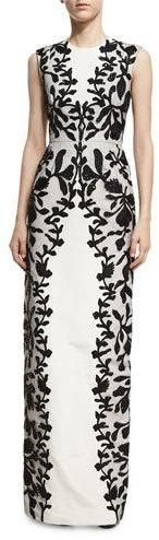 Oscar de la Renta Sleeveless Threadwork Column Gown