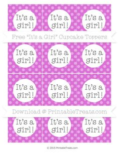 Orchid Dotted Pattern  Its a Girl Cupcake Toppers