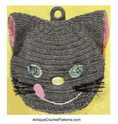 Kitten Potholder - free crochet pattern for a crochet potholder that looks like a kitten - great for people who like cats!