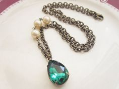 Emerald Green Necklace Estate Style Jewelry by GoingHoLLyWood, $24.00