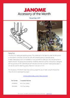 Piping Foot - Accessory of the Month for November 2017