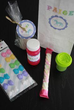 Rainbow Unicorn Party- great treat bag idea!!