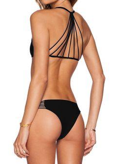 Strappy detail of caged black bikini set