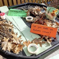Make an Autumn crown in the outdoor learning area. Make an Autumn c Autumn Eyfs Activities, Forest School Activities, Nursery Activities, Preschool Activities, Water Activities, Outdoor Classroom, Eyfs Classroom, Outdoor Nursery, Outdoor Learning Spaces