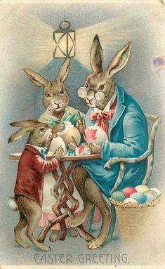 Fantasy Dressed Easter Rabbit Family Paints Eggs Brushes Lantern Light Embossed | eBay