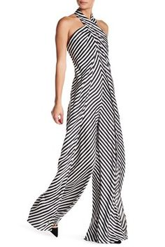Crossover Striped Satin Jumpsuit