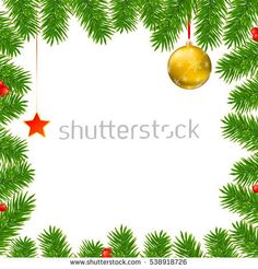 Christmas background with fir branches, red viburnum berries, Christmas balls, beads, a red star with ash trim, New Year ornaments and streamers on white background, template for greeting cards.