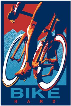 Retro Cycling Print Illustration Poster Ride Hard by sassanfilsoof, $30.00