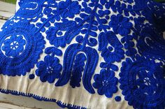 Hungarian Embroidery Stitch Traditional Hungarian motif blue and white -