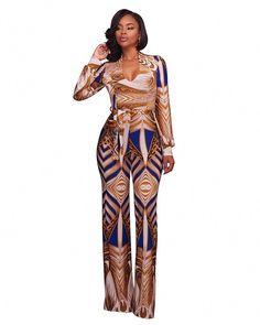 133b49e8e496 Vintage Print Elegant Jumpsuit Romper 2017 Women Autumn Long Sleeve V Neck  Sashes Wide Leg Jumpsuit Long Pant Overalls Plus Size
