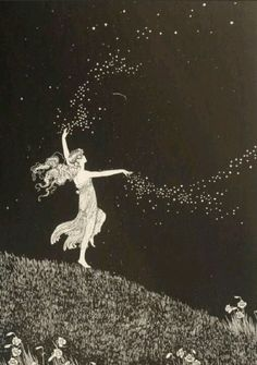 Diana's dancing to the moon.