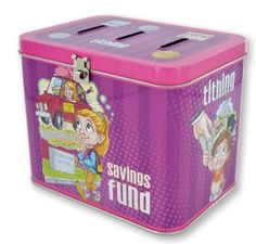 """LDS Girls Tin Tithing / Savings Bank - 3 Slots: Fun Money, Tithing & Savings Fund - Baptism Gift - 5.5"""" X 4"""" X 4.5"""" // also available for boys"""