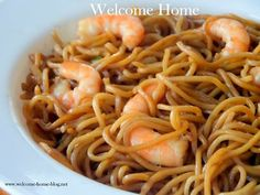 Welcome Home: Shrimp Lo Mein - this would be great with chicken or pork too, and lots of stir-fry veggies mixed in!