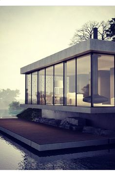 Modern home on the water. Love.