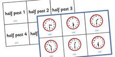 A time bingo set (half past), including boards and matching cards. A fun way to reinforce key concepts and learn about time! Bingo Set, Time Games, Matching Cards, Oclock, Past, Shapes, Learning, Clock Faces, Past Tense